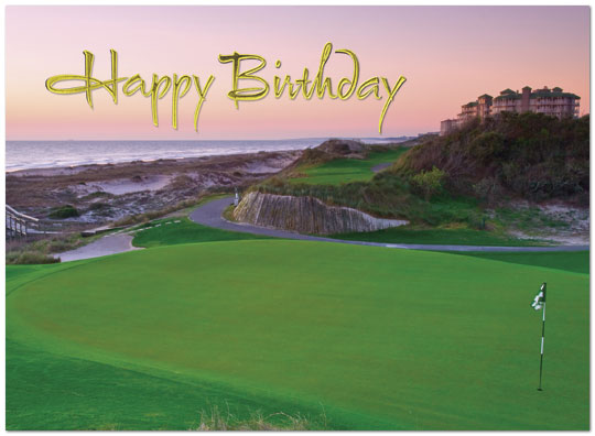 Coastal Golf Birthday Card