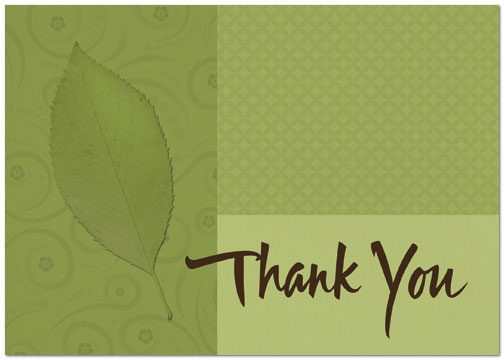 Green Leaf Thank You Card Sustainable Sentiments Cards Posty Cards