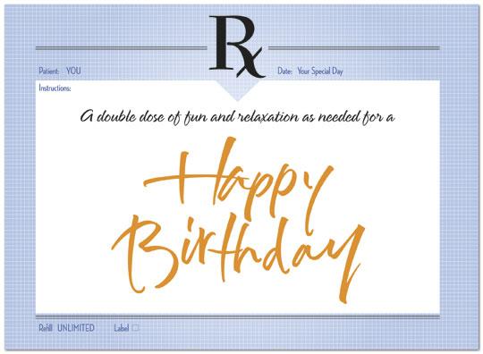 Birthday Prescription Card Medical Birthday Cards Posty Cards