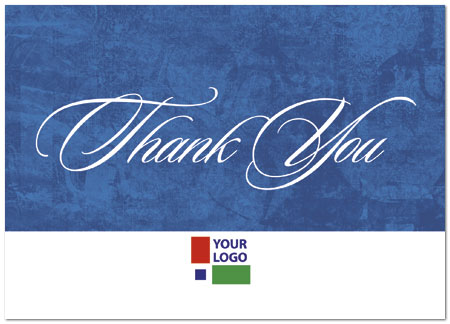 Blue Solid Logo Thank You Card Custom Thank You Cards Posty Cards