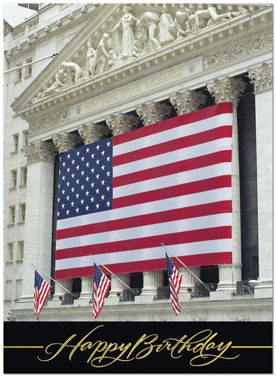 Patriotic Wall Street Birthday Card Financial Birthday Cards