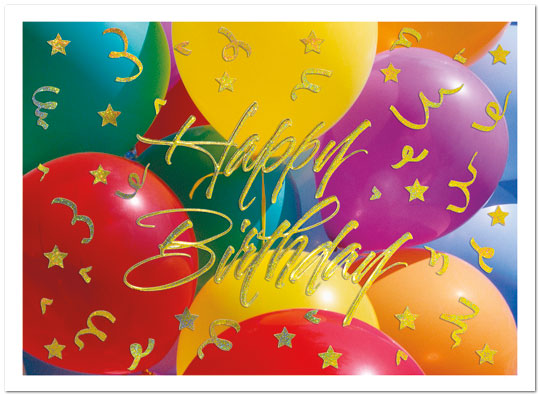 Golden Balloons Birthday Card A3002G-W