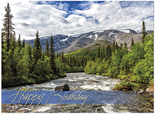 Mountain Stream Birthday Card Scenic Birthday Cards – Mountain Birthday Cards