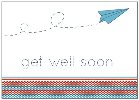 Get Well Paper Plane Card D5054D-Y