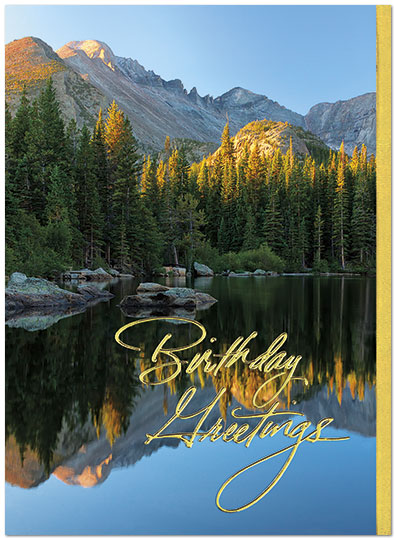 Mountain Reflection Birthday Card Scenic Birthday Cards Posty Cards