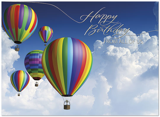 Hot Air Balloons Birthday Card Happy Birthday From All Posty Cards