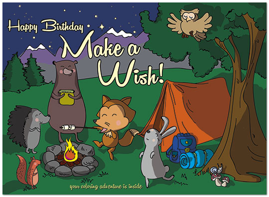 Camping Critters Birthday Card Childrens Birthday Cards Posty Cards