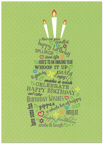 Sentiment Cake Birthday Card A7047KW-X