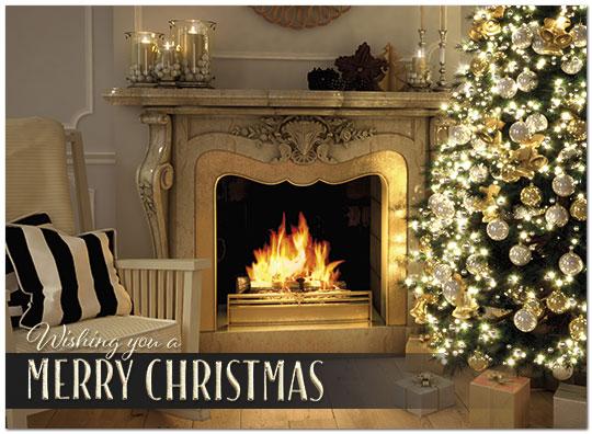 Christmas Fireplace.Christmas Fireplace Card Business Christmas Cards Posty