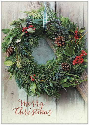 Natural Wreath Christmas Card H7164KW-AA