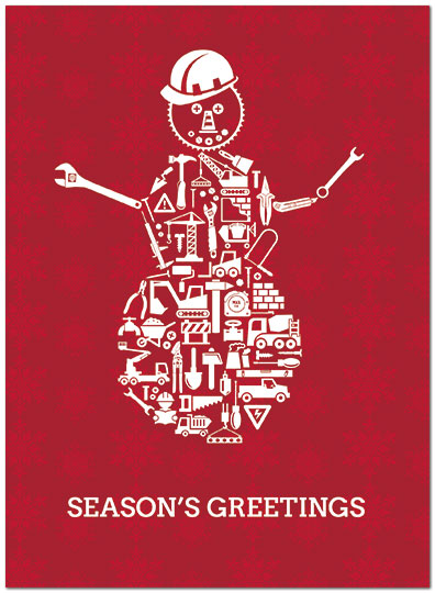 Construction Snowman Holiday Card D7182U-A