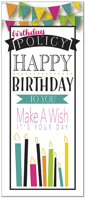 Pennant Policy Birthday Card A8038L-Y