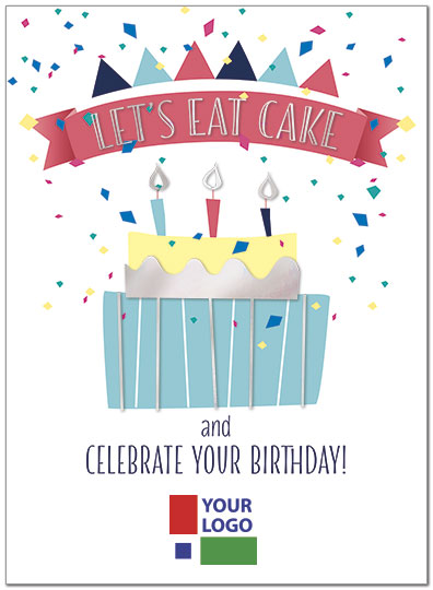 Lets Eat Cake Logo Birthday Card Custom Birthday Card Posty Cards
