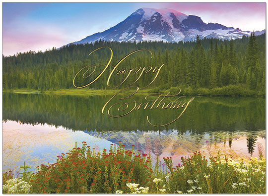 Mountain Reflections Birthday Card A9002G-W