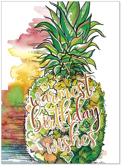 Pineapple Wishes Birthday Card A9008G-W
