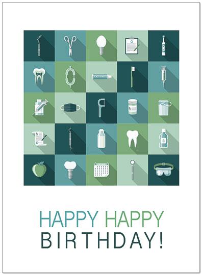 Dental Icon Birthday Card D9041U X Zoom