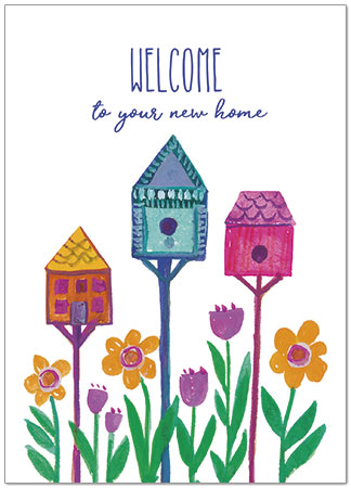 Congrats on  Your New Home ~ Sweet Birdhouses Card with inside verse.