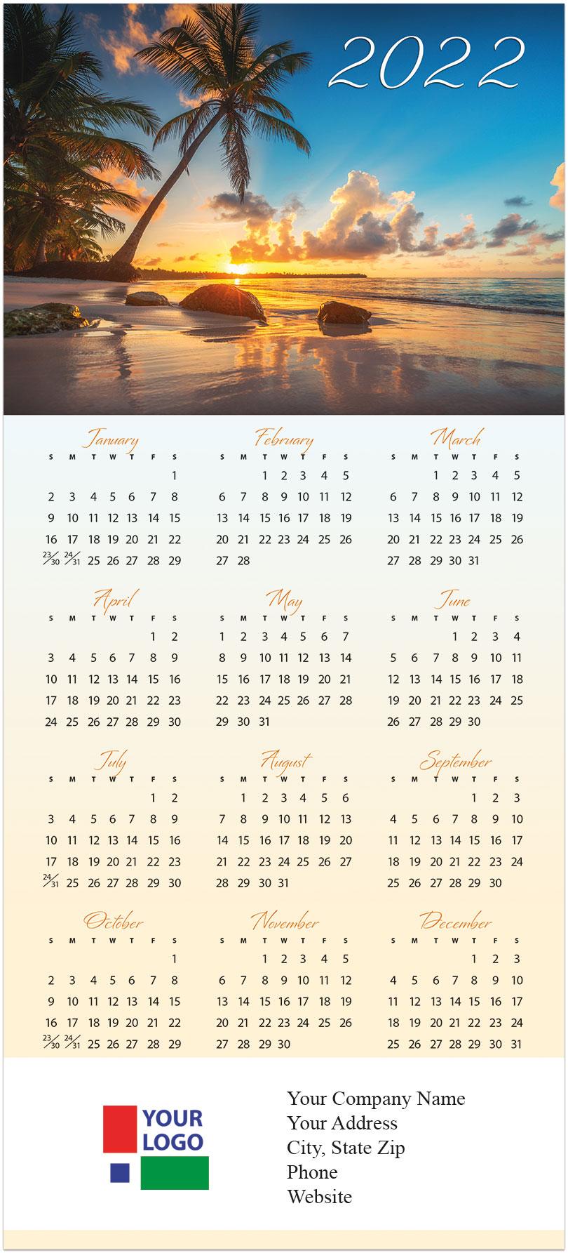 Sunset Calendar 2022.Tropical Sunset Calendar Card 2022 Calendars Posty Cards