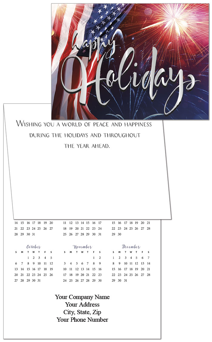 Patriotic premium calendar card business calendar card posty cards this patriotic calendar card with an american flag design comes folded like a greeting card when you open the card you see the holiday verse and your reheart Choice Image