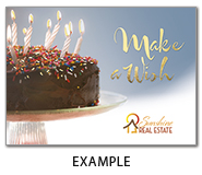 This Birthday Cake Card Features Gold Foil Stamping And Your Company Logo On The Front Of Printed FSCR Certified Satin Paper