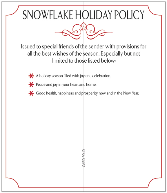 Snowflake Policy Card H3179L-AA
