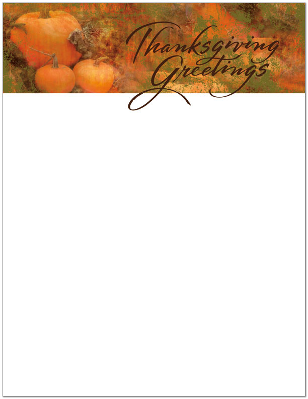 Pumpkin letterhead thanksgiving letterhead posty cards for Thanksgiving letterhead