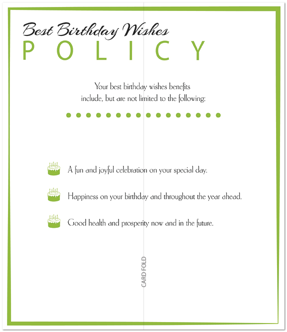 Best Wishes Policy Birthday Card A5033L-X