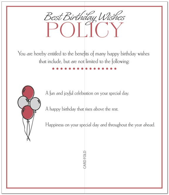 Balloons Policy Birthday Card A6036L-X