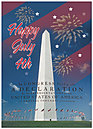 Fourth of July Monument Greeting Card 967D-Y