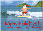 Surfing Santa Holiday Card 9568D-A