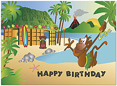 Tiki Party Birthday Card 136U-Y