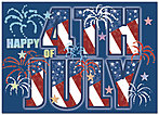 Graphic 4th of July Card 164D-X
