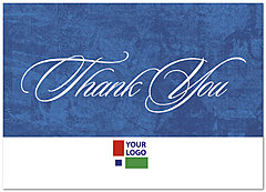 Blue Solid Logo Thank You Card D106D-V