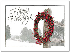 Red Berry Wreath Holiday Card H2182U-AA