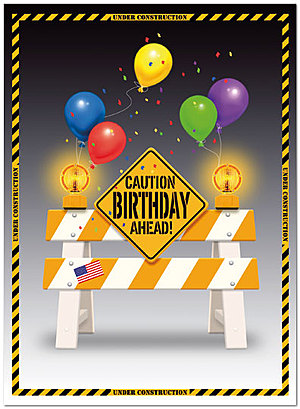Caution Birthday Card A3037U-Y