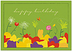 Dancing Flowers Birthday Card A3048KW-X