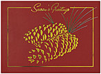 Golden Pinecones Holiday Card H3142G-4A