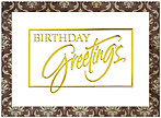 Damask Greetings Birthday Card A4005G-W