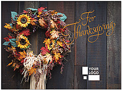 Thanksgiving Wreath Logo Card D4145U-4B
