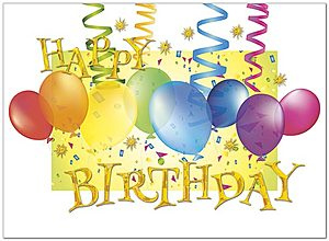 Streamers & Balloons Birthday Card A5004G-W