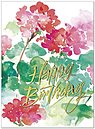 Geraniums Birthday Card A5009G-W