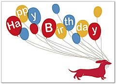 Dachshund Party Birthday Card A5026D-Y