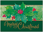 Watercolor Holly Christmas Card H5174G-AAA