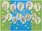 Stars and Balloons Birthday Card A6003G-W