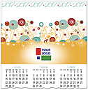 Graphic Flower Logo Calendar Card D6108U-4A