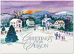Painted Village Holiday Card H6137U-AA