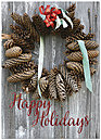 Rustic Wreath Holiday Card H6140D-AA