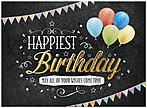 Happiest Birthday Card A7008G-W