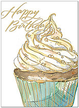 Birthday Cupcake Card A7013G-W
