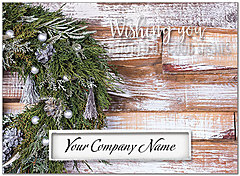 Rustic Wreath Die Cut Holiday Card H7135U-AAA
